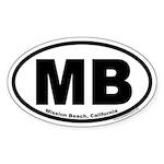 Mission Beach, California MB Oval Sticker