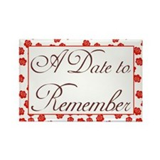 Rosy Date to Remember Rectangle Magnet