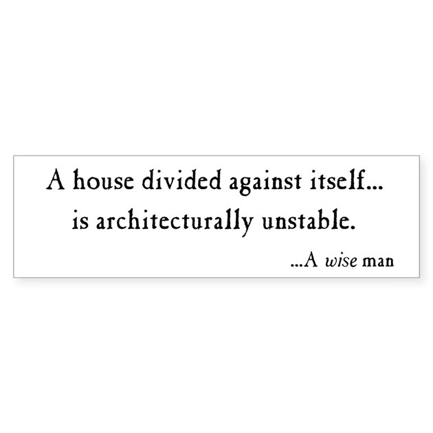 House Divided Bumper Sticker By Genericassets