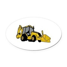 Backhoe Oval Car Magnet