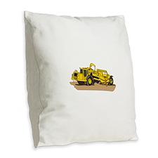 Scraper Truck Burlap Throw Pillow