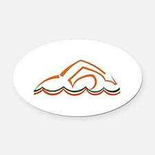 Swimmer Oval Car Magnet