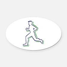 Runner Outline Oval Car Magnet