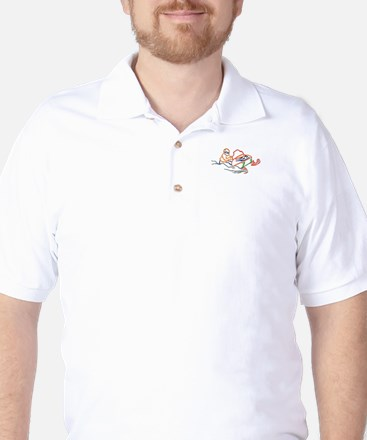 Snowmobiler outline Golf Shirt