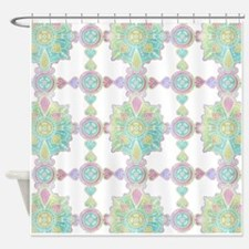 Boho Feather Watercolor Green and B Shower Curtain