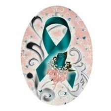 Unique Ovarian cancer supportive Oval Ornament