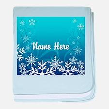 Frozen Snowflakes Custom Name baby blanket