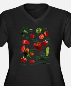 Chili Peppers Women's Plus Size V-Neck Dark T-Shir