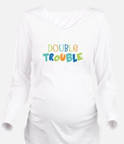 Double Trouble Blues Long Sleeve Maternity T-Shirt