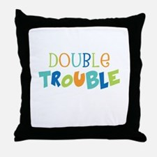 Double Trouble Blues Throw Pillow