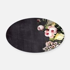 shabby chic flowers Oval Car Magnet