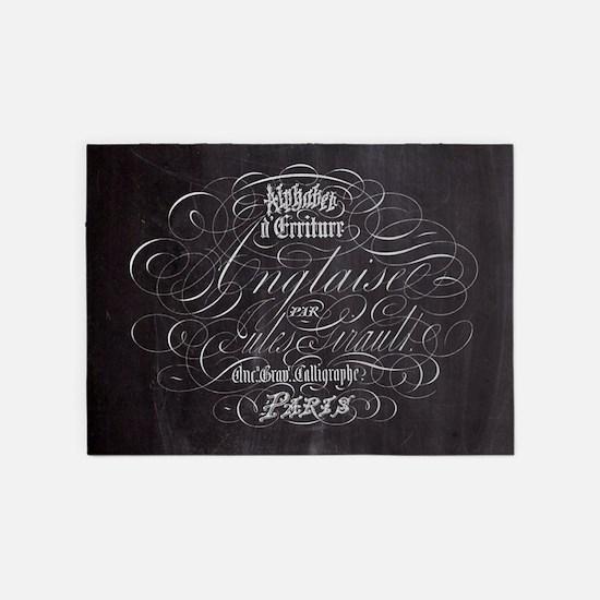 vintage french scripts paris 5'x7'Area Rug