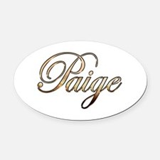 Gold Paige Oval Car Magnet