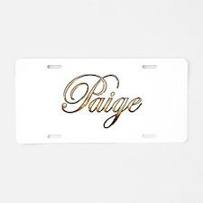 Gold Paige Aluminum License Plate