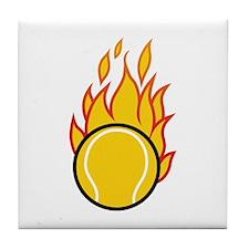 Flaming Tennis Ball Tile Coaster