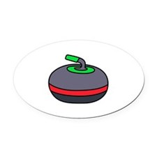 Curling Rock Oval Car Magnet