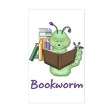 Reading Bookworm Rectangle Decal