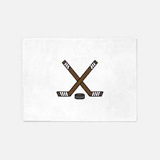 Hockey Sticks and Puck 5'x7'Area Rug