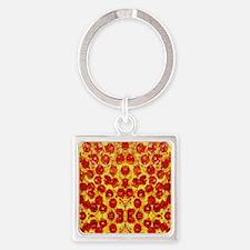 Cute Pizza Square Keychain