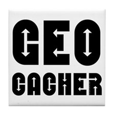 Geocacher Arrows Black Tile Coaster