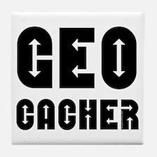 Geocacher Arrows Black Tile Coaster