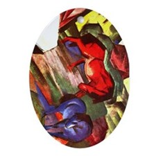 Horses by Franz Marc Oval Ornament