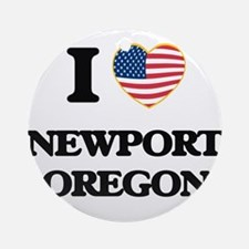 I love Newport Oregon Ornament (Round)