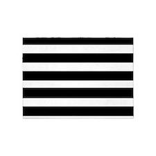 black stripped-2 5'x7'Area Rug