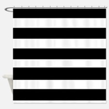 black stripped-2 Shower Curtain