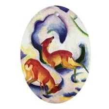 Deer by Franz Marc Oval Ornament