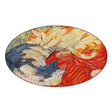 Cats by Franz Marc Oval Decal
