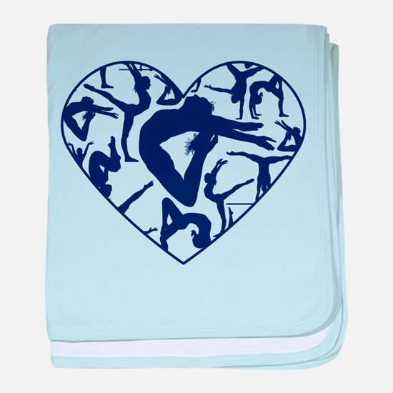 Blue Gymnastics Heart baby blanket
