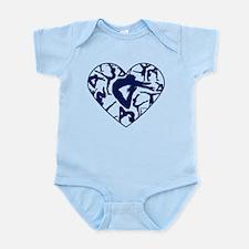 Blue Gymnastics Heart Body Suit