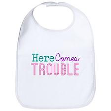 Here Comes Trouble Girls Bib