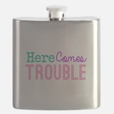 Here Comes Trouble Girls Flask