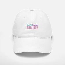 Here Comes Trouble Girls Baseball Baseball Cap