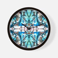 Blue Doodles Wall Clock