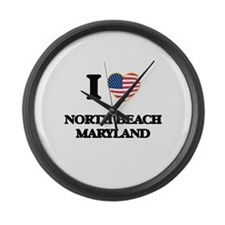 I love North Beach Maryland Large Wall Clock