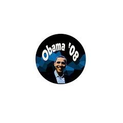 Dark Blue Abstract Obama '08 Mini Button