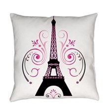 Eiffel Tower Gradient Swirl Design Everyday Pillow