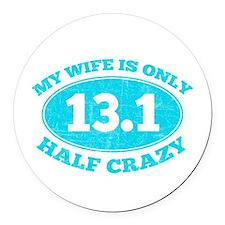 Half Crazy Wife Round Car Magnet