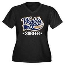 Surfer (Worl Women's Plus Size V-Neck Dark T-Shirt