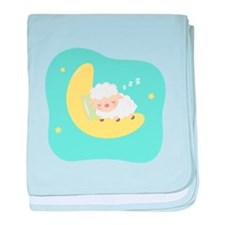 Cute Sleeping Lamb on the Moon for Kids baby blanket