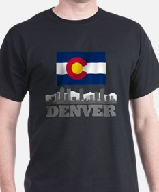 Denver Colorado Flag Skyline T-Shirt