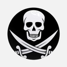 Skull and Swords Jolly Roger Ornament (Round)