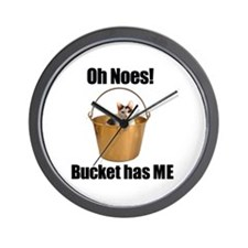 Bucket has lolcat Wall Clock