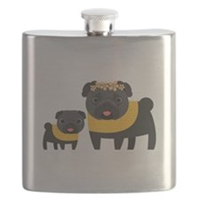 Mother's Day Black Pugs Flask