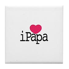I Love Papa Tile Coaster