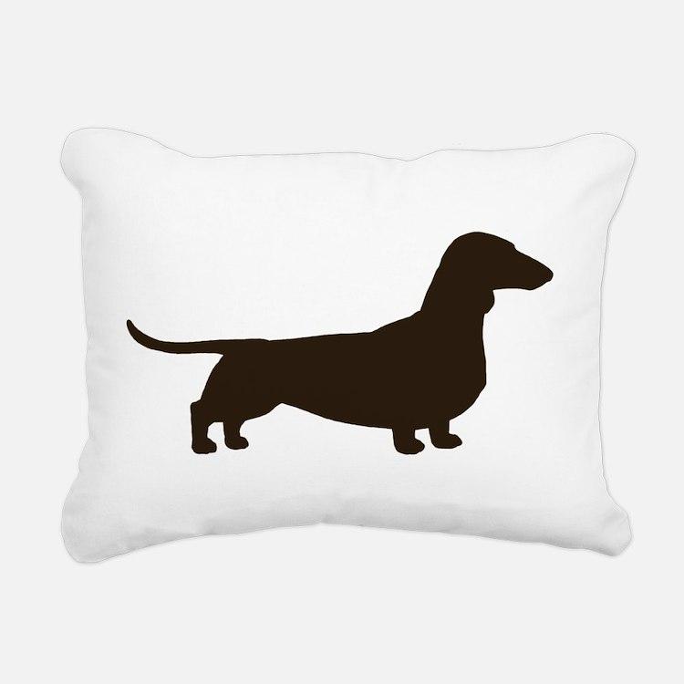 Dachshund Silhouette Rectangular Canvas Pillow
