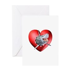 Shark Heart Burst Greeting Card